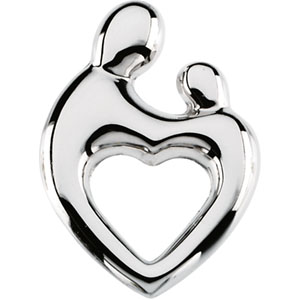 14k white gold heart shaped mother and child pendant small 14k white gold heart shaped mother and child pendant small 83165ws mozeypictures Images