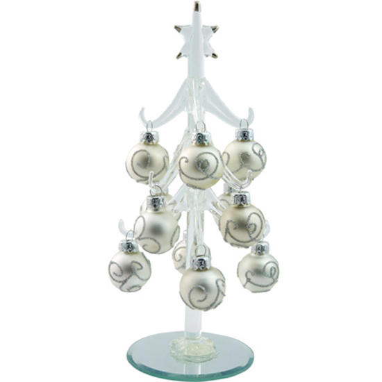 Ls Arts 8 Inch Clear Glass Christmas Tree With Silver Ball