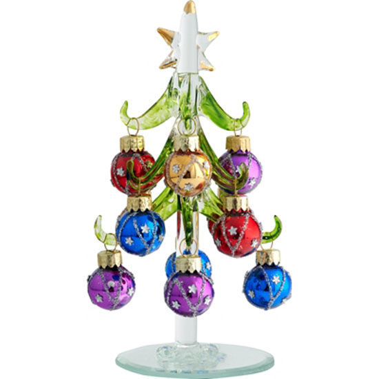 Ls arts inch green glass tree with star images ornaments